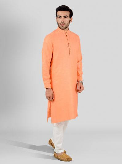 Orange Self Textured Regular Fit Modi Kurta | JadeBlue