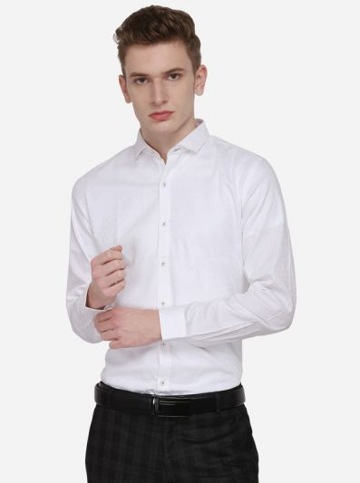 White Printed Slim Fit Party Wear Shirt | Wyre
