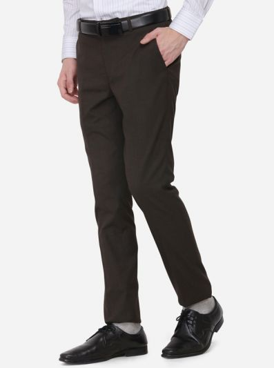 Dark Brown Solid Slim Fit Formal Trouser | Greenfibre