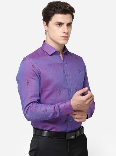 Pink & Blue Regular Fit Printed Formal Shirt | JadeBlue