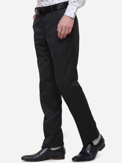 Grey Solid Classic Fit Formal Trouser | Greenfibre