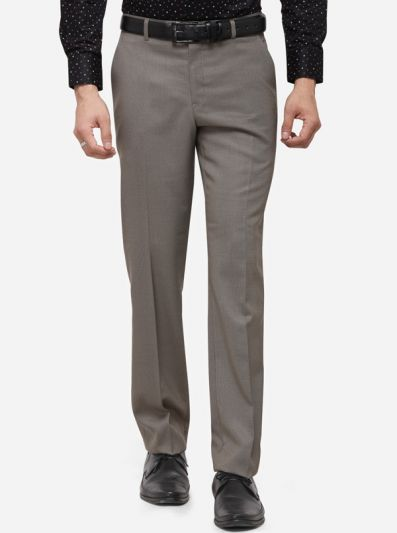 Grey Classic Fit Solid Formal Trouser | Greenfibre