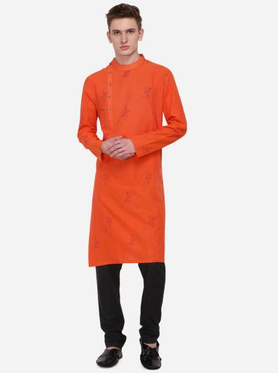 Orange Printed Regular Fit Kurta | Azania