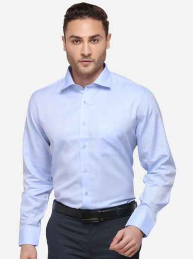 Sky Blue Solid Regular Fit Formal Shirt | JadeBlue