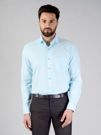 Crystal Blue Self Textured Regular Fit Formal Shirt | JadeBlue