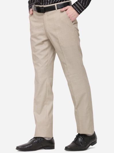 Beige Solid Classic Fit Formal Trouser | Greenfibre
