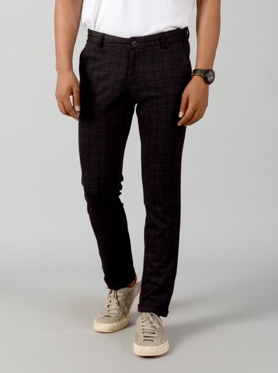 Black Checked Slim Fit Casual Trouser | JB Sport