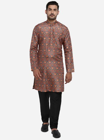 Grey & Orange Kurta Set | TULA by Siddhesh Chauhan