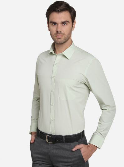 Pista Green Solid Regular Fit Formal Shirt  | Greenfibre
