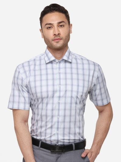 Light Grey Checked Regular Fit Formal Shirt | JadeBlue