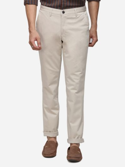 Khaki Solid Uno Fit Casual Trouser | JadeBlue Sport