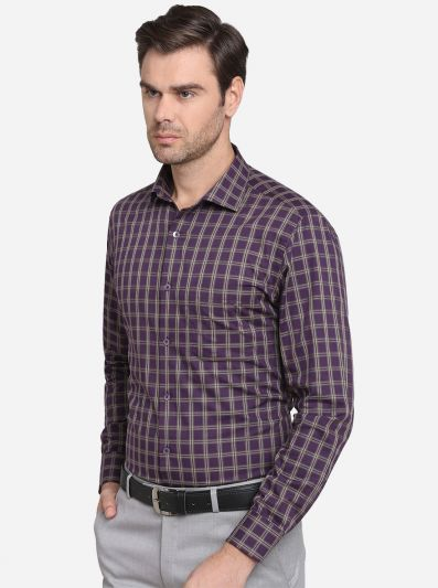 Purple & Cream Checked Slim Fit Formal Shirt | Metal