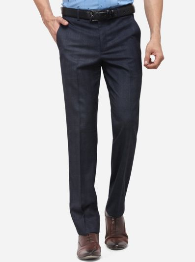 Blue & Grey Slim Fit Checked Formal Trouser | Metal