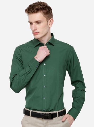 Green Solid Slim Fit Party Wear Shirt | Wyre