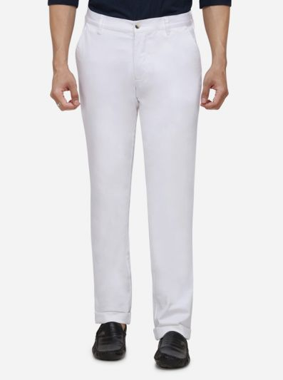 White Solid Slim Fit Casual Trouser | JadeBlue