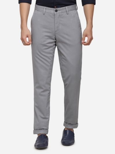 Light Grey Solid Uno Fit Casual Trouser | JadeBlue Sport