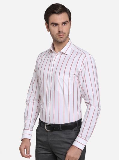 White & Red Striped Slim Fit Formal Shirt  | Metal