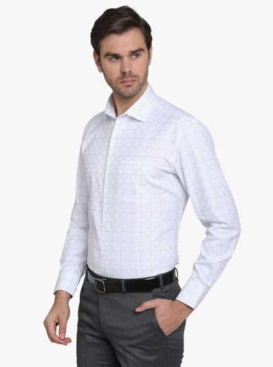 White Checked Slim Fit Formal Shirt  | Metal