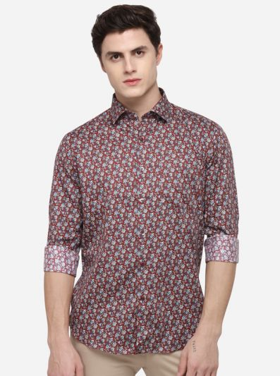 Multi Tailored Fit Printed Formal Shirt | Metal