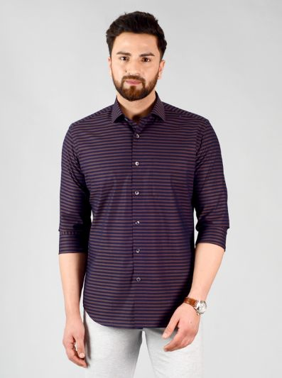 Black & Brown Striped Slim Fit Evening Wear Shirt | Metal