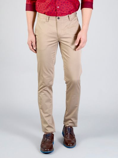 Tuffet Brown Solid Slim Fit Casual Trouser | JB Sport