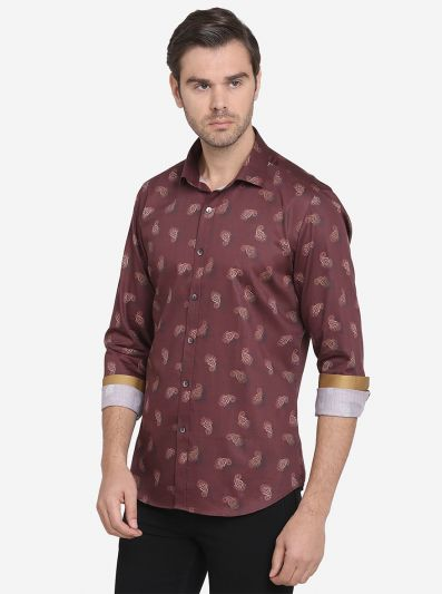 Brown Printed Slim Fit Party Wear Shirt  | Wyre