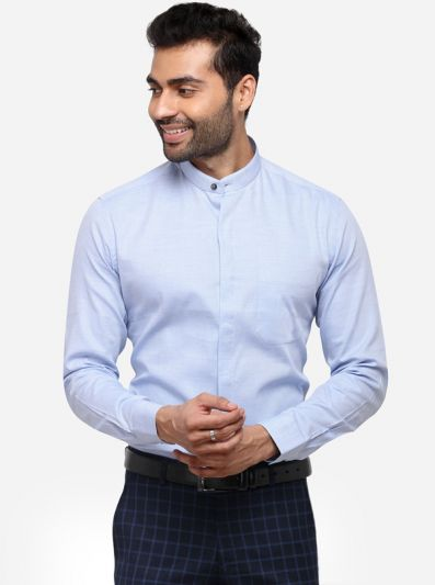 Sky Blue Regular Fit Solid Formal Shirt | JadeBlue