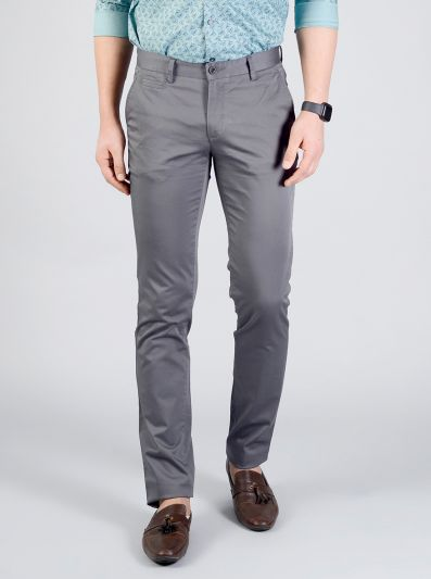 Charcoal Grey Solid Slim Fit Casual Trouser | JB Sport