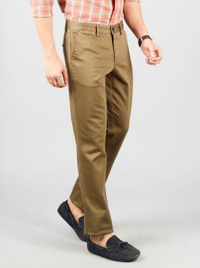 Olive Brown Solid Slim Fit Casual Trouser | JB Sport