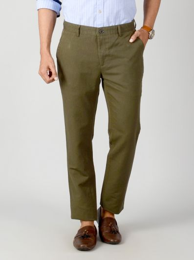 Dark Olive Green Self Textured Slim Fit Casual Trouser | JB Sport