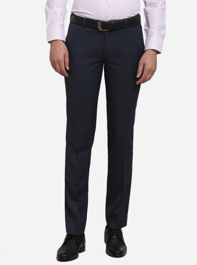 Dark Grey Solid Slim Fit Formal Trouser | Metal