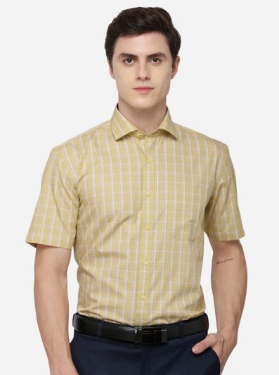 Yellow & White Regular Fit Checked Formal Shirt | JadeBlue
