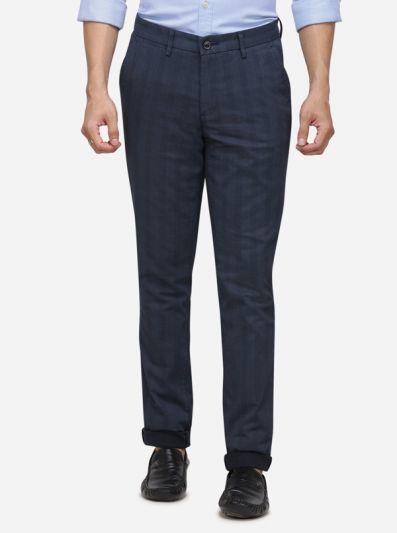 Navy Blue Solid Uno Fit Casual Trouser | JadeBlue Sport