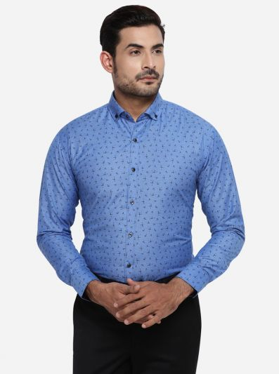 Azure Blue Printed Slim Fit Party wear Shirt | Greenfibre