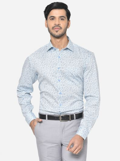 Sky Blue Printed Regular Fit Formal Shirt | JadeBlue