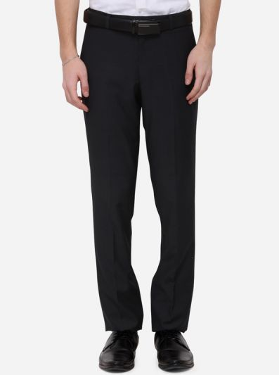 Grey Solid Slim Fit Formal Trouser | Metal