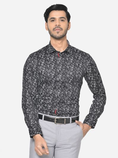 Black & White Printed Slim Fit Party Wear Shirt | Greenfibre