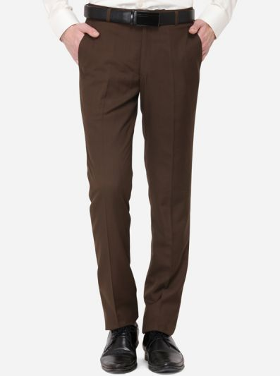 Brown Solid Slim Fit Formal Trouser | Greenfibre