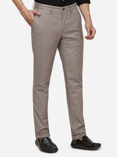 Grey Checked Uno Fit Casual Trouser | JadeBlue Sport