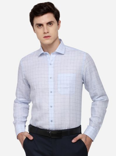 Sky Blue Regular Fit Checked Formal Shirt | JadeBlue