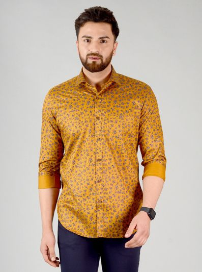 Mustard Yellow & Blue Printed Slim Fit Formal Shirt | JadeBlue