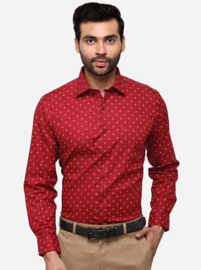 Maroon Regular Fit Printed Formal Shirt | Greenfibre
