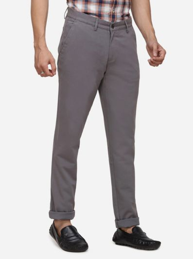Ash Grey Solid Uno Fit Casual Trouser | JadeBlue