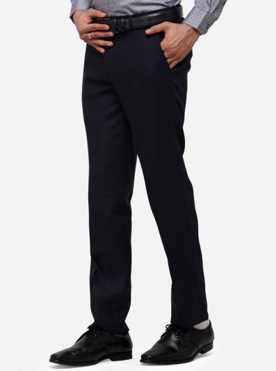 Navy Blue Solid Slim Fit Formal Trouser | JB Studio