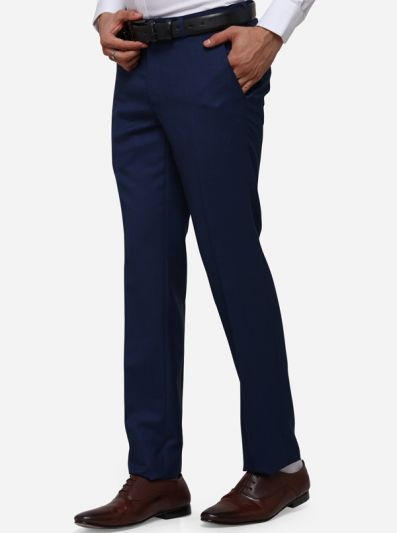 Navy Blue Slim Fit Solid Formal Trouser | Metal