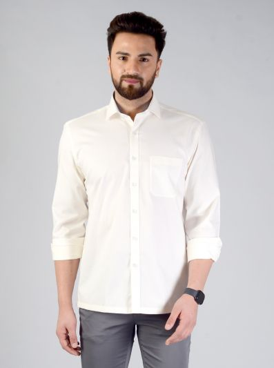 Cream Solid Regular Fit Formal Shirt | JadeBlue