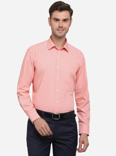 Peach Solid Regular Fit Formal Shirt | JadeBlue