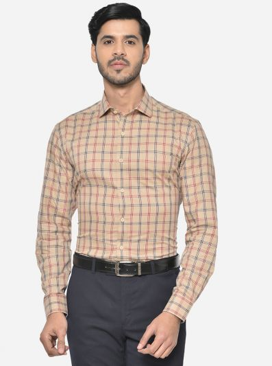 Beige & Red Checked Slim Fit Formal Shirt | JadeBlue