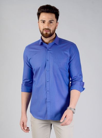 Dark Blue Solid Slim Fit Evening Wear Shirt | Metal