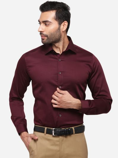 Brown Slim Fit Solid Party Wear Shirt | Wyre